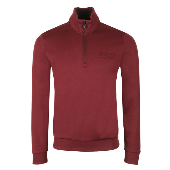 Boss Green Mens Red Half Zip Sweat main image