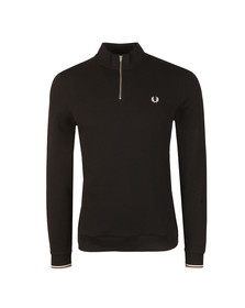 Fred Perry Mens Black L/S 1/2 Zip polo