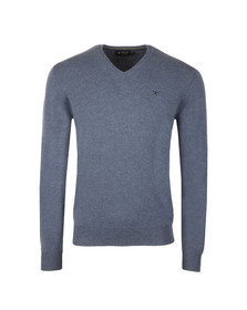 Hackett Mens Blue Lambswool V Neck Jumper