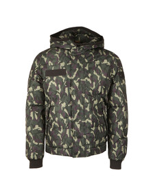 True Religion Mens Green Hooded Camouflage Jacket