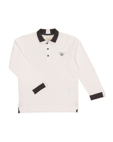 Armani Junior  Boys White Long Sleeve Tipped Polo Shirt