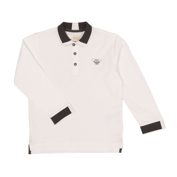 Armani Junior  Boys White Long Sleeve Tipped Polo Shirt main image