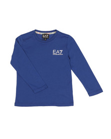 EA7 Emporio Armani Boys Blue Small Logo Long Sleeve T Shirt