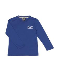 EA7 Emporio Armani Boys Blue Small Logo Long Sleeve T Shirt