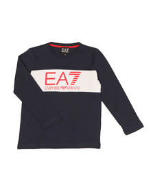 EA7 Emporio Armani Boys Blue Boys Long Sleeve Large Logo T Shirt