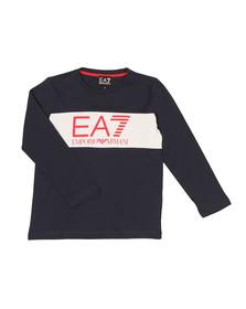 EA7 Emporio Armani Boys Blue Boys Long Sleeve Large Logo T Shirt