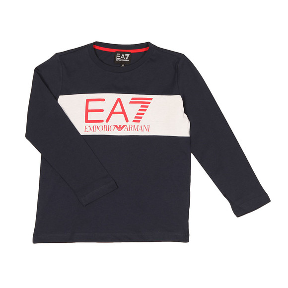 EA7 Emporio Armani Boys Blue Boys Long Sleeve Large Logo T Shirt main image