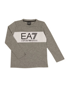 EA7 Emporio Armani Boys Grey Boys Long Sleeve Large Logo T Shirt