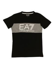 EA7 Emporio Armani Boys Black Large Logo Crew T Shirt