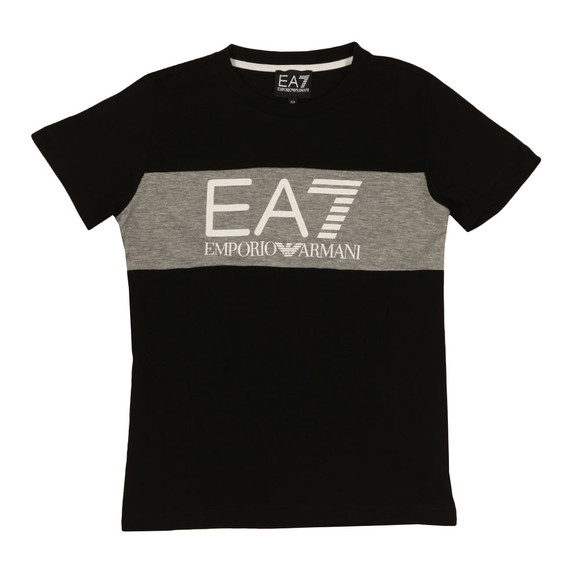 EA7 Emporio Armani Boys Black Large Logo Crew T Shirt main image