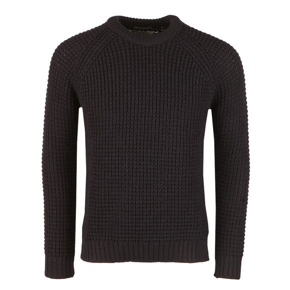 Peregrine Mens Blue Waffle Crew Neck Jumper main image