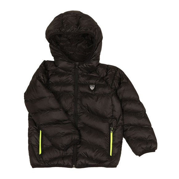 EA7 Emporio Armani Boys Black Shield Logo Puffer Jacket