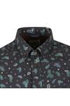 Ben Sherman Mens Blue L/S Paisley Marl Shirt