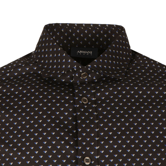 Armani Jeans Mens Black 6Y6C74 All Over Pattern Shirt main image