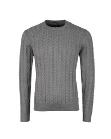 Weekend Offender Mens Grey Woods Cable Knit Jumper