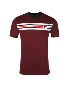 Fila Mens Red S/S Vandorno Panel Tee