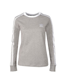 Adidas Originals Womens Grey 3 Stripes Long Sleeve T Shirt