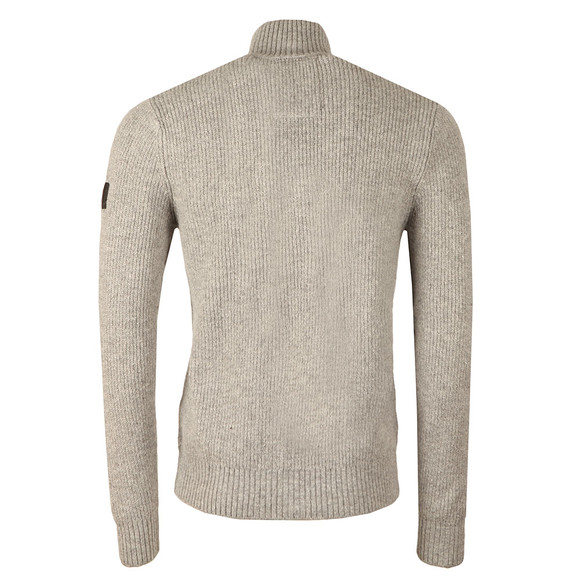 Luke Mens Grey Miltray Zip Funnel Neck Jumper main image