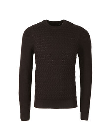 Luke Mens Black Long Horn Hand Knit Crew Jumper