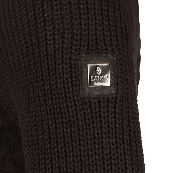 Luke Mens Black Long Horn Hand Knit Crew Jumper main image