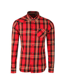 Luke Mens Red Heyday Patch Pocket Detail Shirt