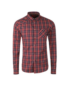 Luke Mens Blue Heyday Patch Pocket Detail Shirt