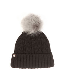 Ugg Womens Black Textured Cuff Hat With Fur Pom Pom