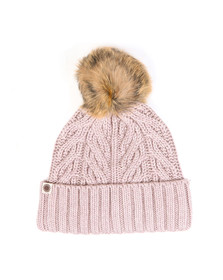 Ugg Womens Beige Textured Cuff Hat With Fur Pom Pom