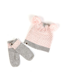 Ugg Girls Grey K Chevron Pom Hat & Mitten Set