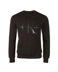 Calvin Klein Mens Black L/S Print Crew Sweat