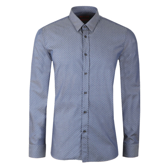 HUGO Mens Blue Elisha 01 Diamond Pattern Shirt