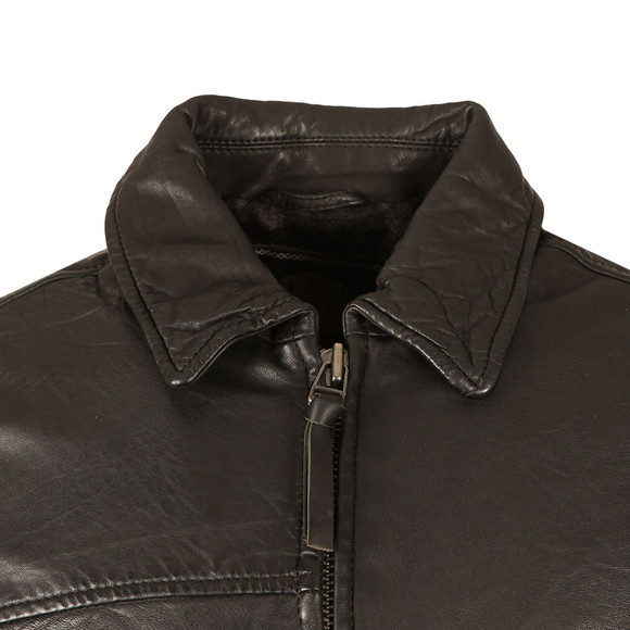 Pretty Green Mens Black Jennets Leather Jacket main image