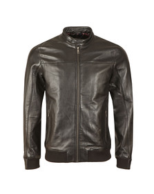 Ted Baker Mens Black Leather Bomber Jacket