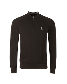 Psycho Bunny Mens Black Essential Half Zip Jumper