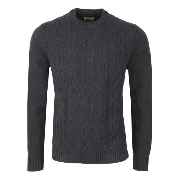 Ben Sherman Mens Blue Cable Front Crew Neck Jumper main image