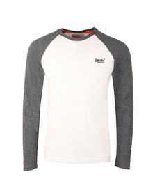 Superdry Mens White Orange Label LS Baseball Tee