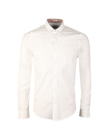 Ben Sherman Mens White L/S Poplin Stretch Shirt