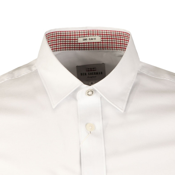 Ben Sherman Mens White L/S Poplin Stretch Shirt main image