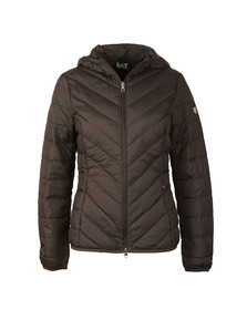 EA7 Emporio Armani Womens Black Hooded Down Jacket