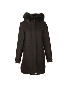 Ted Baker Womens Black Kalissa Wool Hooded Parka