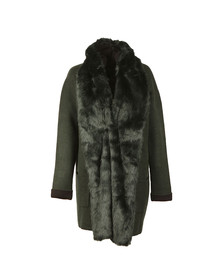 French Connection Womens Ink Green/black Double Sided Vhri Fur Coat