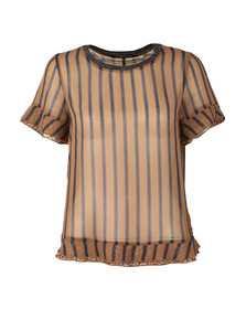 Maison Scotch Womens Brown Sheer Printed Top