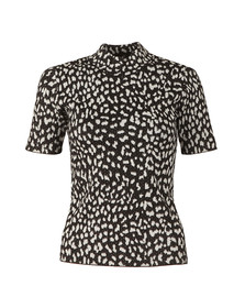 Michael Kors Womens Black Lurex Animal Top