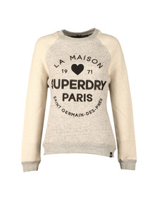 Superdry Womens White Applique Slim Crew Sweat