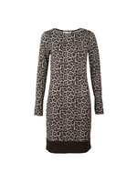 Leopard Long Sleeve Border Dress