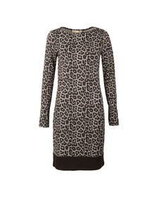 Michael Kors Womens Black Leopard Long Sleeve Border Dress