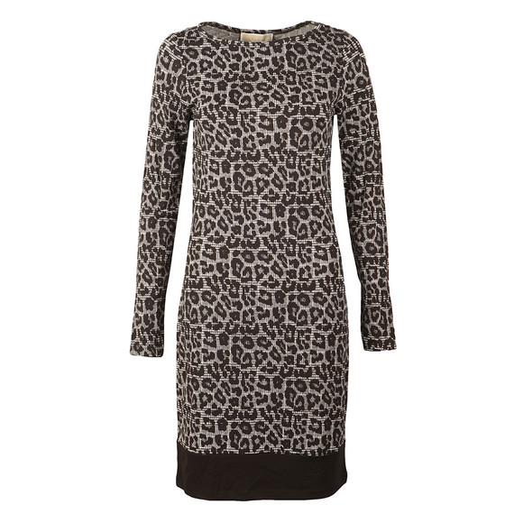 Michael Kors Womens Black Leopard Long Sleeve Border Dress