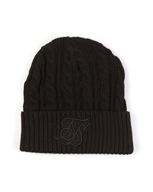 Sik Silk Mens Black Cable Knit Beanie