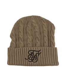 Sik Silk Mens Green Cable Knit Beanie
