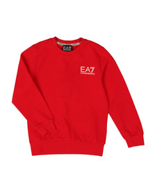 EA7 Emporio Armani Boys Red Crew Neck Sweatshirt